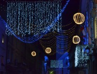 The main street of Tržič is enlightened by the holidays atmosphere