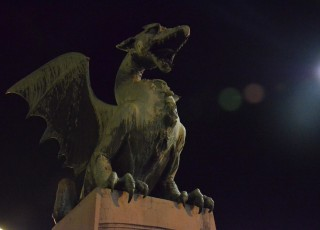 The Dragon's Bridge, the symbol of Ljubljana, December 2014