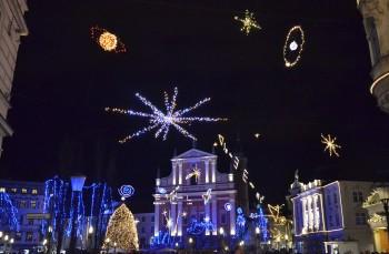 Illuminated Prešeren Square in Ljubljana, December 2014