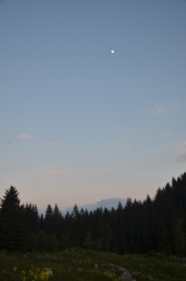 The Moon Around Sunset from a Planina