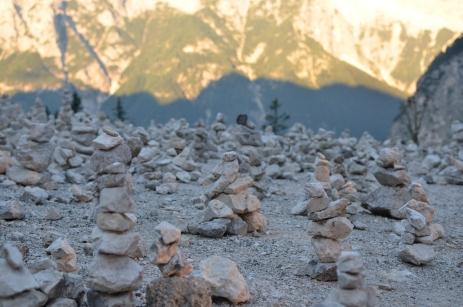 Massive amount of rock statues, Vršič Pass