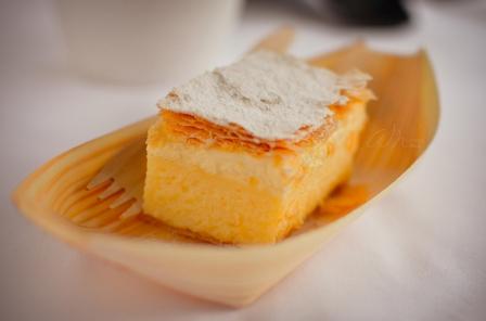 Delicious Slovenian Cream Cake, Kreamšnita, in a Paper Boat in Castle Bled, Slovenia