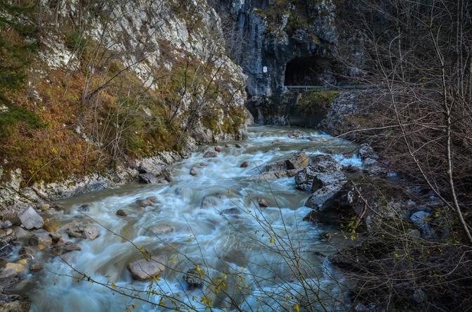 Beautiful Water Stream with the Devil's Bridge in Dovžan Gorge, Tržič