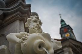 Beautiful Fountain of Robba with glimpse of a Church in Ljubljana, Slovenia