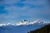 Beautiful Moutain Triglav on the way to Lake Bled, Slovenia