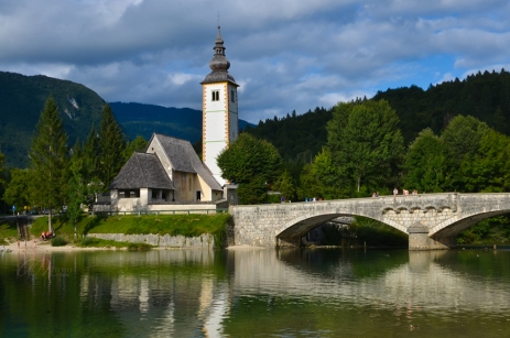 Beautiful Church of St. John the Baptist and Bridge at Lake Bohinj
