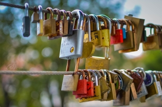 Romantic Love Locks on the Butcher's Bridge in Old Ljubljana