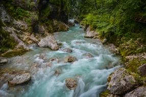 Beautiful Emerald Water in Tolminska Korita