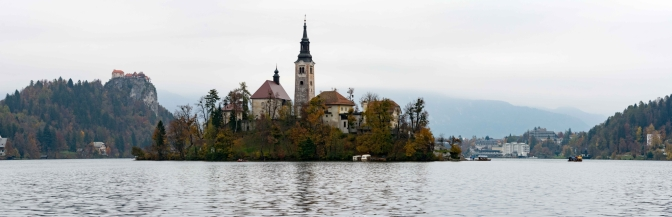 Panoramic View of Bled, on a Cloudy Day