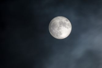 Supermoon with Cloudy Sky